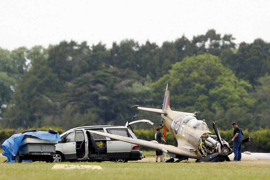 The scene where a two-seater spitfire crashed at Ardmore airport, Auckland, New Zealand, Thursday, December 03, 2009. Credit:NZPA / Wayne Drought